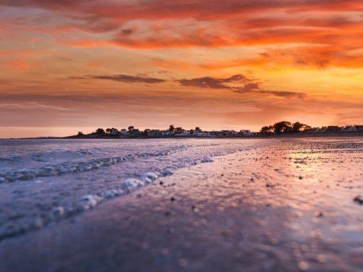 Soleil couchant sur la grande plage de Gâvres